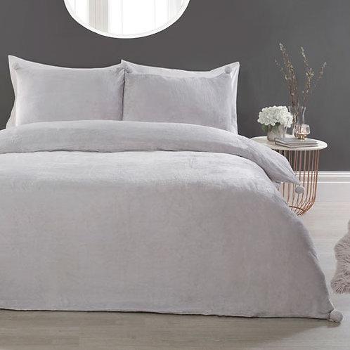 Pom Pom Comfy Fleece Duvet Set Silver