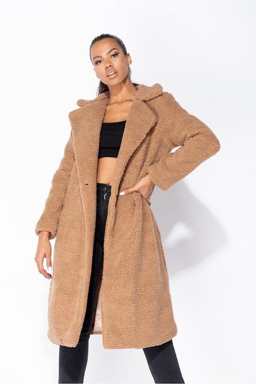 Mocha Longline Borg Teddy Coat
