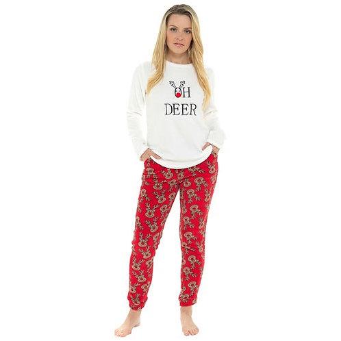 Ladies Reindeer Fleece Pyjama Set