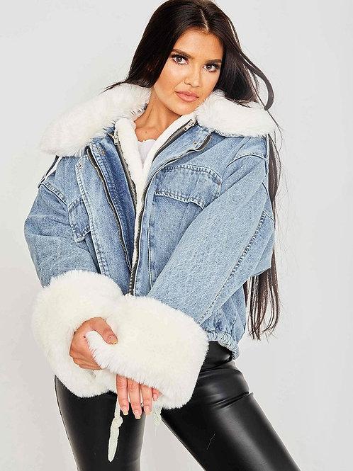 Oversized Fur Lined Denim Jacket