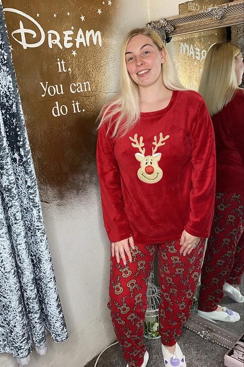 Ladies Oh Deer Fleece Pyjama Set