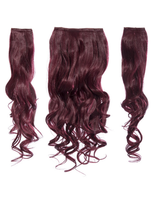 Burgundy Curly Clip in 3 Piece Hair Extensions