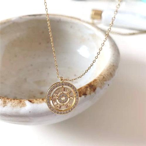 Roman Numerals Sterling Silver Gold Pendant