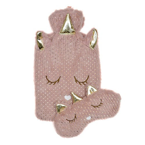 Foil Print Unicorn Hot Water Bottle With Eyemask