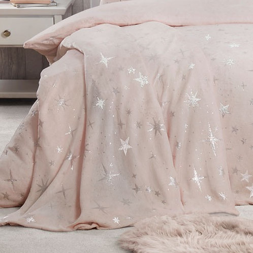 Scattered Stars Comfy Fleece Throw Blush