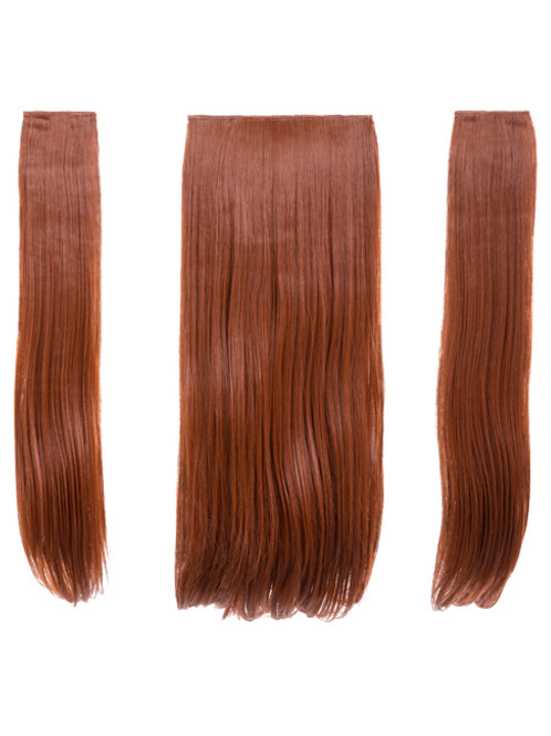 Copper Red Straight Clip In 3 Piece Hair Extensions