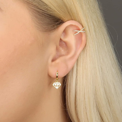 Lily Sterling Silver Ear Cuff In Gold
