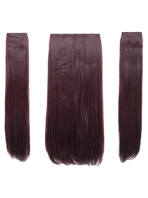 Plum Straight Clip in 3 Piece Hair Extensions