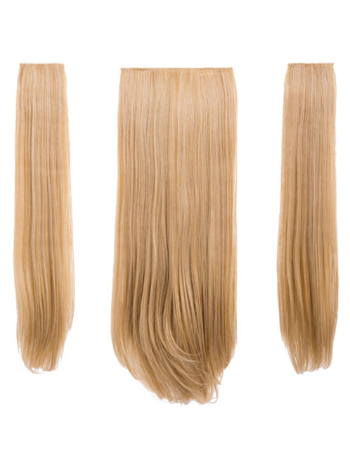 Golden Blonde Straight Clip In 3 Piece Hair Extensions