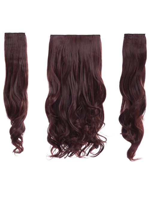 Black Burgundy straight Clip In 3 Piece Hair Extensions