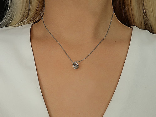 Geometric Hexagon Wrapped Crystal Sterling Silver Necklace
