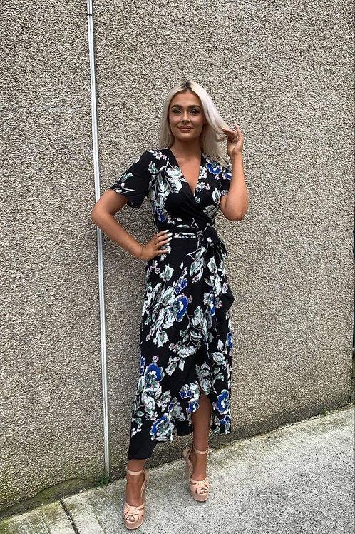 Farren Split Hem Frill Detail Wrap Maxi Dress