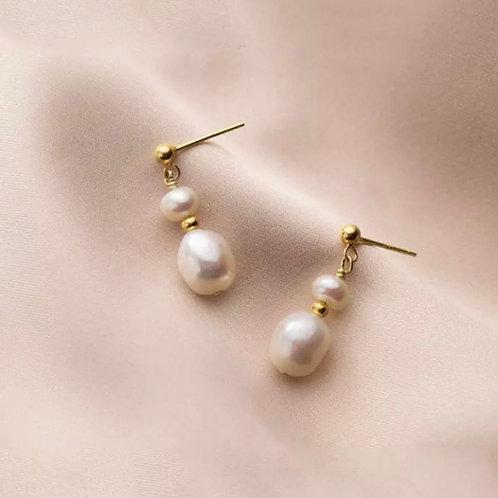 Double Pearl Sterling Silver Earrings In Gold