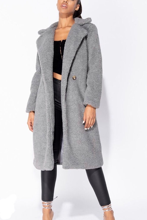 Grey Longline Borg Teddy Coat