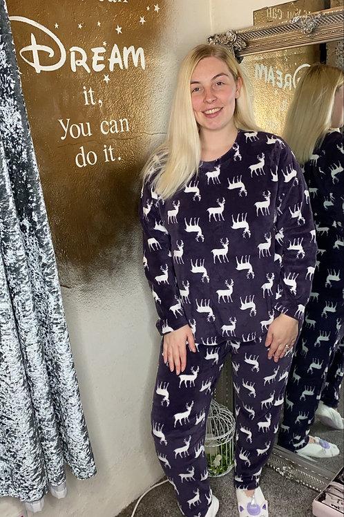 Ladies Stag Fleece Pyjama Set