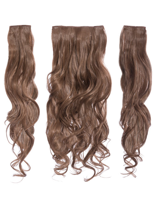 Golden Brown Curly Clip In 3 Piece Hair Extensions
