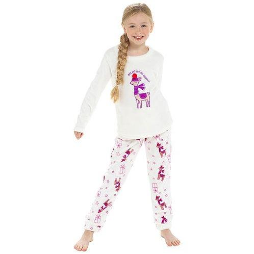 Girls Llama Fleece Xmas Pyjama Set