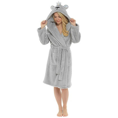 Ladies Glitter Thread Gown With Bear Hood