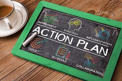 Action Plan chart with keywords and elem