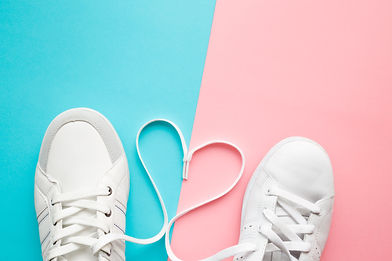Heart created from white shoelaces betwe