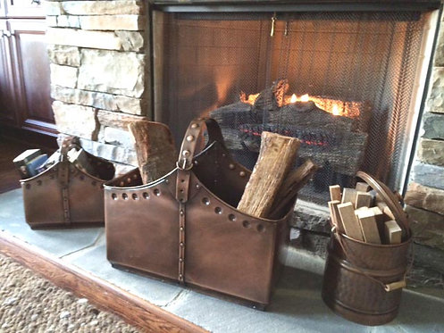 Three Piece Pure Copper Cauldron Basket Set