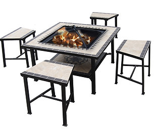 Serengeti Sunrise Fire Pit Table with Stools