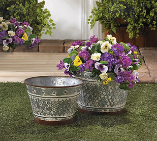 Decorative Galvanized Planter Set