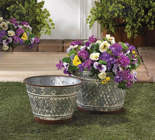 Decorative Galvanized Planter Set