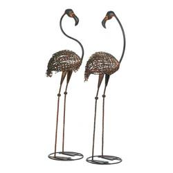 Wild Flamingo Garden Art Duo-10017004-wh