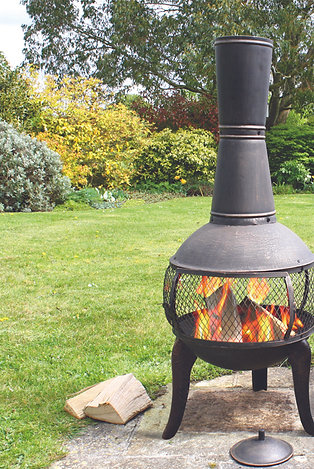 Tuscan Glo Cast Iron Chiminea