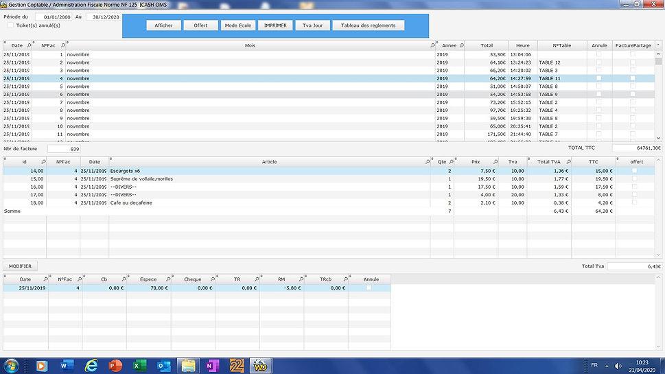 Gestion comptable , envois de Z , Ventilation TVA