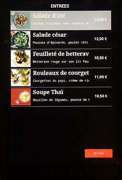 Menu électronique i-menus, liste des plats