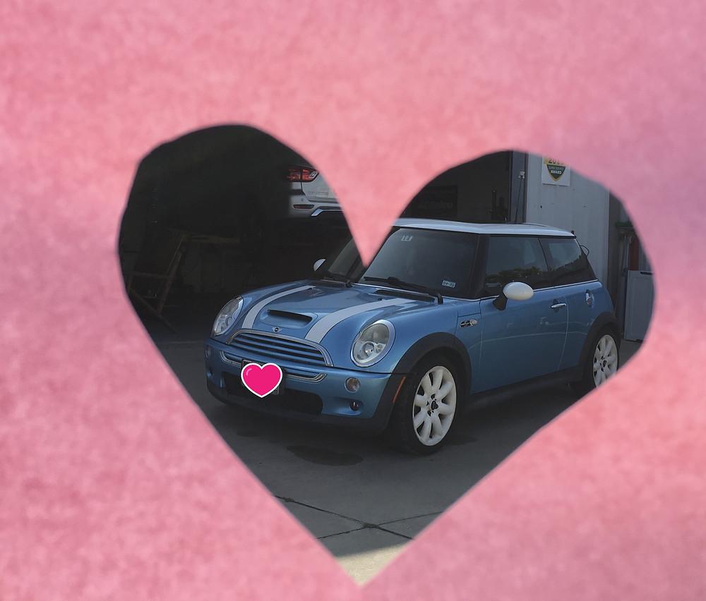 Sky Blue Mini Cooper after car wash.
