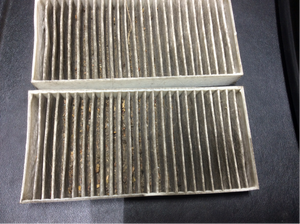 dirty car cabin air filter