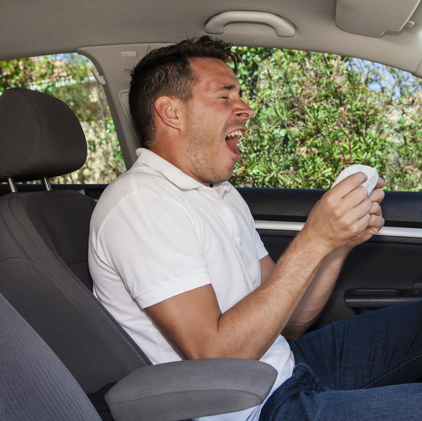 Man Sneezing In Car