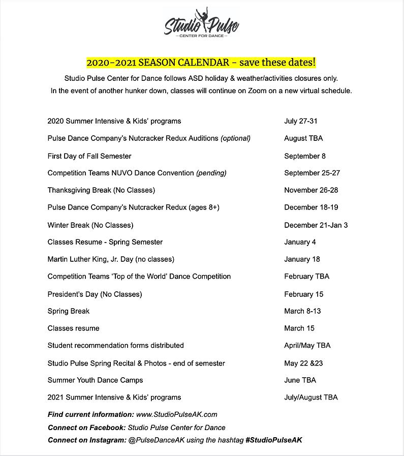 2020-2021 season calendar