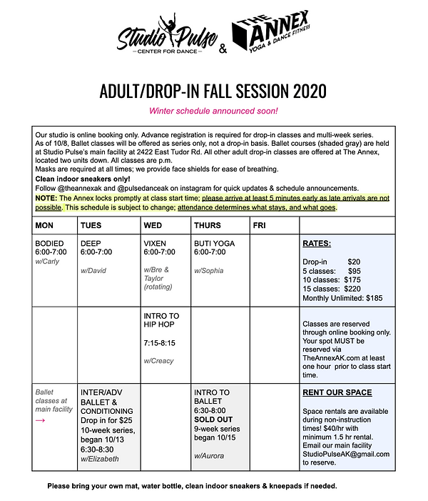 End of fall 2020 schedule