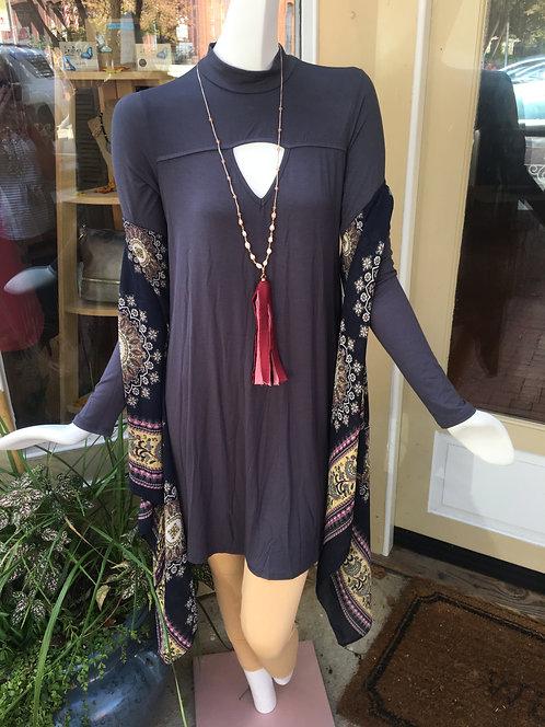 Cutout Front Pocket Dress