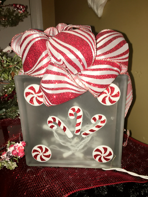 Candy Cane Frosted Block Light