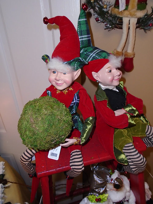 Pose-able Elf Green Plaid Hat