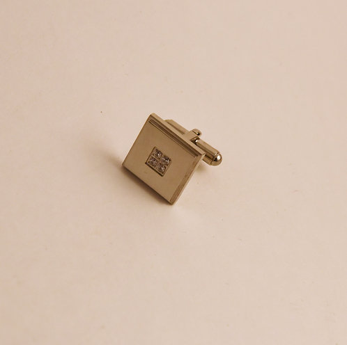 Square Stainless Steel Stone Insert Cuff Link