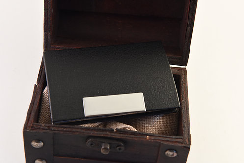 Black Leather & Silver Business Card Case
