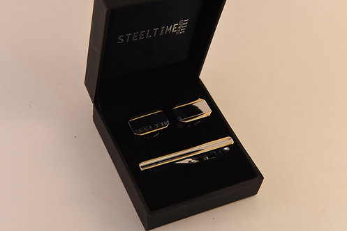 Stainless Steel Gold & Silver Cuff Link and Tie Clip Set