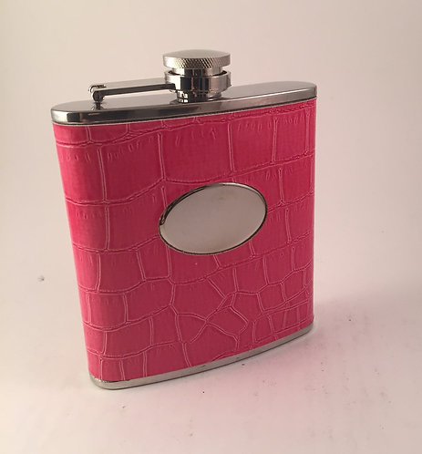 Pink Leather Sassy Flask
