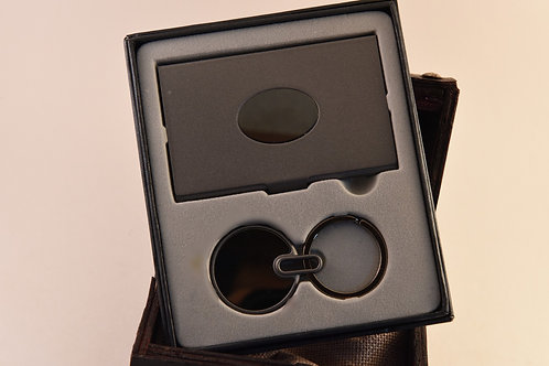 Gunmetal Business Card Holder and Key Chain Gift Set
