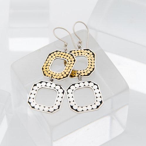 Double Square Open Earrings