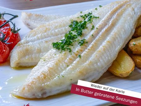 In Butter gebratene Seezungen (3 kleine)