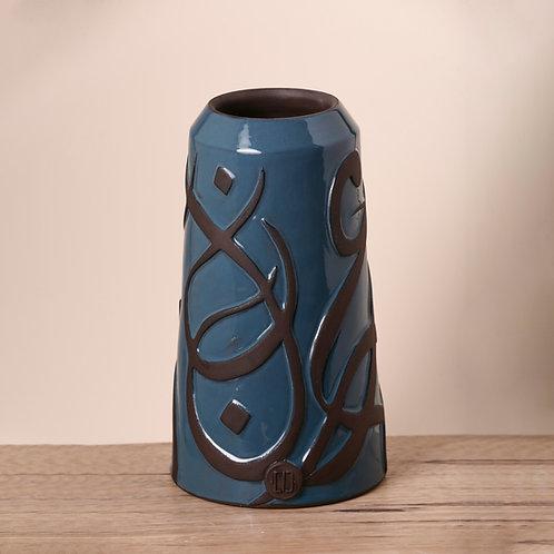 Engraved Petrol Blue Vase
