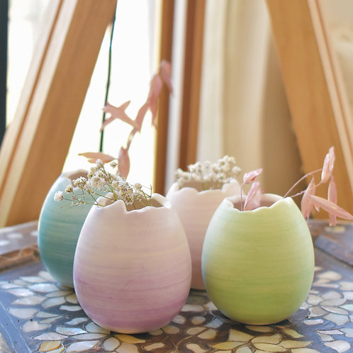 Miniature ceramic egg vase