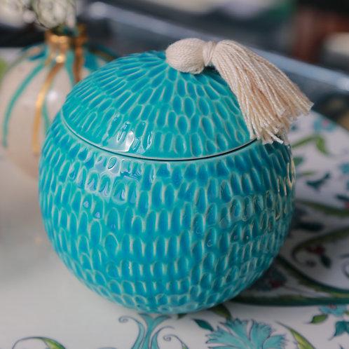 Hand carved round ceramic box